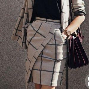 ASOS Jackets & Coats - ASOS checked blazer with asymmetrical pencil skirt